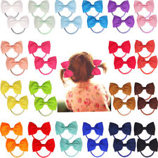 40 Pcs Hair Bow Hair Tie for Baby Girls Kids Ribbon Pinwheel Bows Elastic Bands