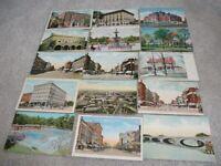 13 1910-1920's era & 1 Linen & 1 Chrome South Bend Indiana Postcards 4 streets