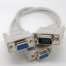 VGA SVGA Male to 2 Dual Female Y Adapter Splitter Cable 15 Pin c38_sx