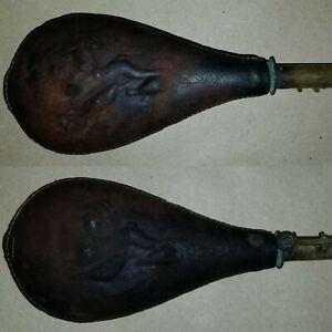 Leather Powder Flask, American Flask and Cap Company. Civil War Powder Flask.
