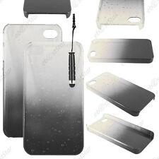 Housse Etui Coque Rigide Motif Gouttelettes Noir Apple iPhone 4S 4 + Mini Stylet