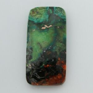 """Natural """"Aurora"""" Turquoise CABOCHON 45 x 23 x 7 mm - Red, Green, and Copper #4e"""