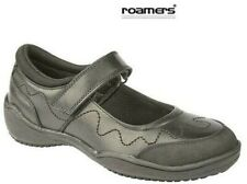 Girls Roamers Black Leather School Shoes Rubber Toe Guard Size 10 - 5 UK