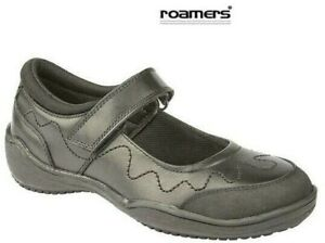 Girls Roamers Black Leather School Shoes Rubber Toe Guard Size 10 - 5 UK