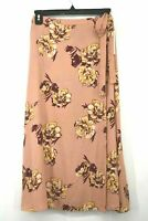 Abound Womens Print Faux Wrap Midi Skirt Pink Dawn Floral Tie Waist NWT