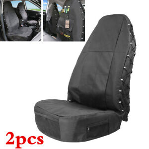 2x Black Waterproof Front Row Set Car Seat Covers Fit for High Back Bucket Seats