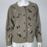 Talbots Womens Small Petite Fleece Sweater Jacket Snowflakes Holly Christmas SP