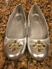 Gap 4 Youth Big Girl Embellished  Ballet Flats Silver Worn Little