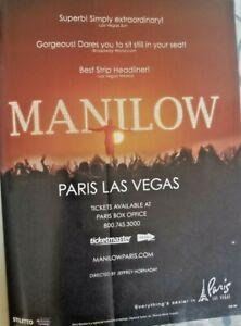 2011 BARRY MANILOW LAS VEGAS Magazine Paris Concert Promo AD LA Times Interview