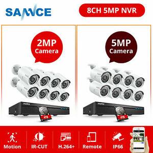 SANNCE 1080P/5MP HD POE Security IP Audio Camera System 8CH Network NVR 0-4TB IR