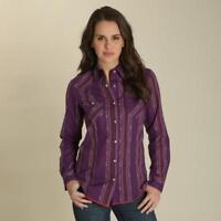 Wrangler Women's Plum Western Printed Snap Up Western Shirt LW8231M
