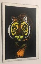 Vintage Poster Tiger Blacklight Pin-up 1970's AA Sales Velvet Flocked Retro