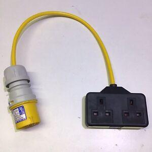 Marten® 110V 16 AMP Plug to 2 Gang 13 AMP Socket PAT Testing Adapter