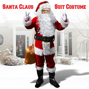 Mens Christmas Santa Claus Football supporters dressing up costume team colours