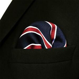 S&W SHLAX&WING Striped Pocket Square for Mens Suit Jacket Blue and Red