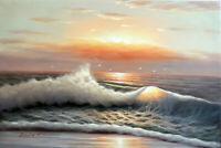 Surf Sunrise Quiet Beach Hawaii Caribbean Seascape Oil Painting 24X36  STRETCHED