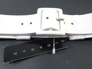 Theory Women's Saad Webbing Shine Wide Elastic Leather Belt P/S NWT 165 White