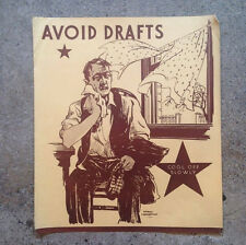 "1930's ""Avoid Drafts"" Poster - Harold Cressingham - Original U.S. Depression era"
