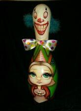 Low--Brow Pop Art! Original Brian Monahan Clown-decorated bowling pin