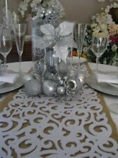 Decorative Filigree  Laser Cut Felt Table Runner  - White