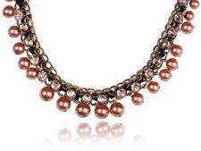 Golden Bronze Faux Dangle Pearl Crystal Rhinestone Chain Ribbon Mesh Necklace