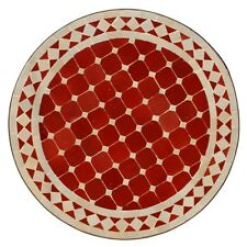 Marocain Rond Table en Mosaïque Plateau à Thé Bordeaux/Beige BD60cm