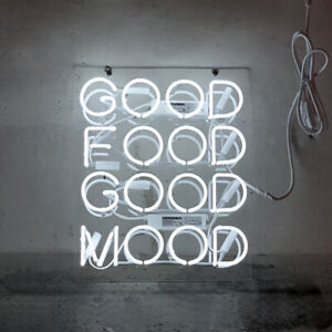 "17""x14""Good Food Good Mood Neon Sign Light Restaurant Window Hanging Artwork"