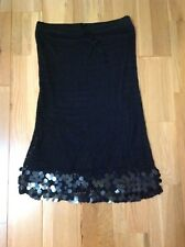 Ykn Handmade Embellished Sequins Boho Black Skirt For Parties Size-M/L New (HT)