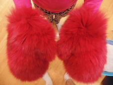 New Real Red Color Fox Fur Gloves Mittens Soft and Furry With Hanging Chain