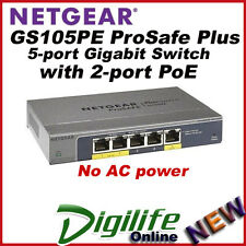 Netgear GS105PE ProSafe Plus 5-port Gigabit Switch with 2-port PoE Pass-thru
