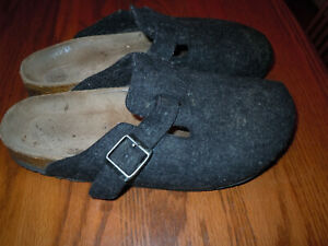 BIRKENSTOCK Boston Dark Charcoal Clogs Sz 40 Narrow - NOT PERFECT