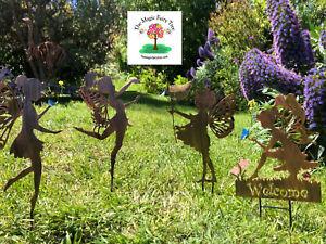 Metal Fairy Stake Butterfly Wings Welcome Wand Net Silhouette Garden Fairies