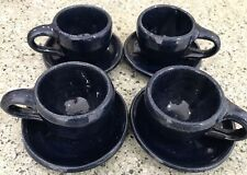 Vintage Small Bybee Pottery Blue Glaze Set Of 4 Cups & Saucers Demitasse Redware