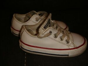 CONVERSE ALL STAR OX PUMPS LEATHER TRAINERS-WHITE -SIZE 5 UK INFANT TODDLER -K53