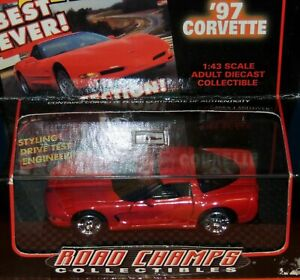 1997 RED CHEVROLET CORVETTE 2/DOORS by ROAD CHAMPS 1:43 SCALE