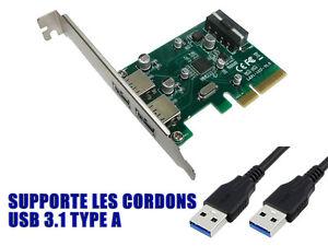 Pcie USB 3.1 - 10 GB - 2 Ports On Flat Angle Bracket Rear - Type A - Chipset