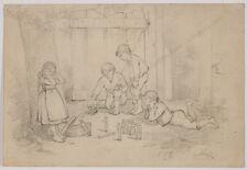 "Robert Scheffer (1859-1934) ""Children with Tin Toy Soldiers"", drawing, 1882"