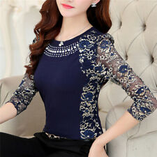 Women Fashion Slim Patchwork Casual Blouses Shirt Long Sleeve Lace Tops BlouseRA