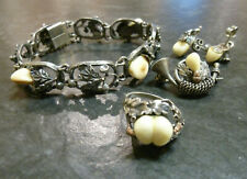 Set Grandelschmuck Armband Ohrstecker Brosche + Ring Grandl Grandel 835er Silber