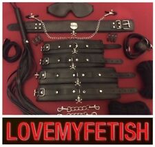 Bondage kit gag collar hand cuffs rope ankle restraints whip goth skull fetish