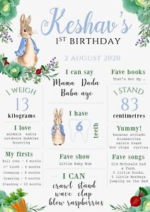 Peter Rabbit Birthday Party Decoration Milestone Poster 1st chalkboard classic