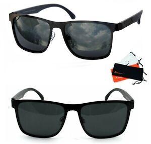Rennec Herren Sonnenbrille Polarisiert Metal 100% UV 400 Rechteckig Schwarz R20P