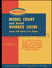 1914-1950 Dodge and Plymouth Model Chart and Serial Number Guide Car and Truck