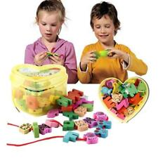 Wooden Heart Shape Lacing Beads Animal Blocks Box Threading Kids Educational Toy