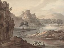 ROBERT ADAM BRITISH RIVER LANDSCAPE CASTLE OLD ART PAINTING POSTER BB6320A