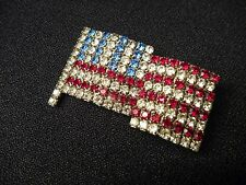 Vintage American Flag Rhinestone Pin Brooch Patriotic USA prong set crystals