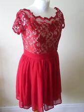 ELISE Ryan Vestido Scarlet Rojo Encaje Nude hombro Patinadora Talla 14 BNWT 1950s