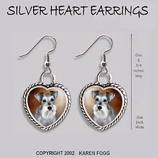 Schnauzer Dog Silver Natural Ears - Heart Earrings Ornate Tibetan Silver