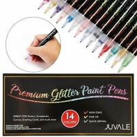 Glitter Paint Pen Set for DIY Crafts Art Calligraphy Cardmaking 14 Colors