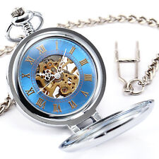 Hollow Mechanical Hand Wind Silver Open Face Romans Copper Pendant Pocket Watch